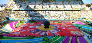 A REAL KICK: Comprised of more than 220,000 fan-submitted photos, Coca-Cola's Happiness Flag is the world's largest digitally produced Photomosaic Flag. The flag was produced for the 2014 FIFA World Cup.