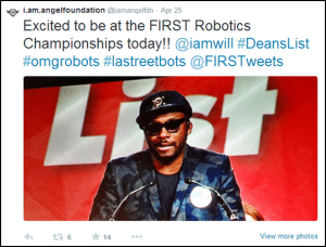 TAPPING A NEW TUNE: will.i.am live tweets from FIRST Championship, showcasing his support for FIRST and STEM education. Photo courtesy: FIRST, Cone Communications