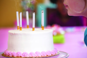 Stub Hub: A birthday cake with cigarettes in place of candles was consistent with Seen Enough Tobacco's message blasting smoking promotions in places where children can see them.