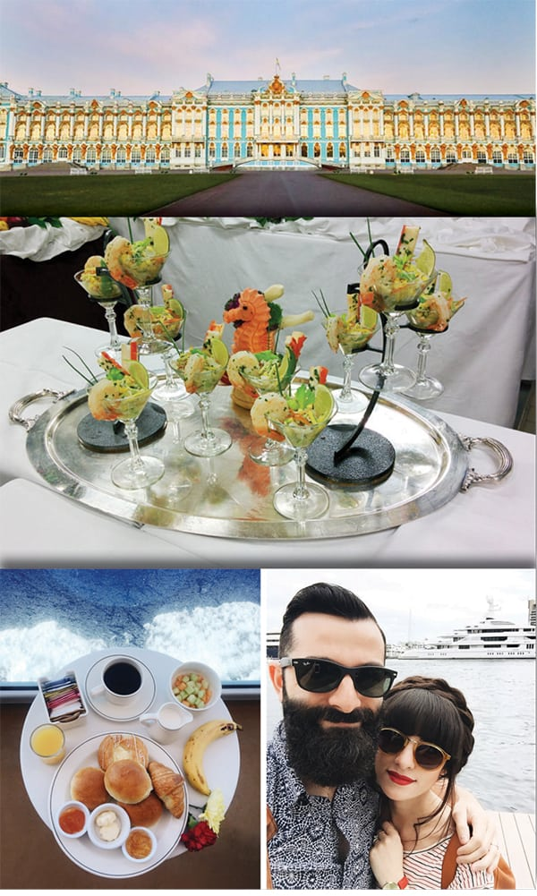 An Authentically Good Time: Influencer-created content from Princess Cruises. Top: Catherine's Palace, St. Petersburg, Russia (Instagram of sweetcsdesigns); middle: ceviche and shrimp (itstartswithcoffee.com); bottom: food, deck life (newdarlings.com). These high-quality photos show why influencers need flexible schedules. Source: Princess Cruises