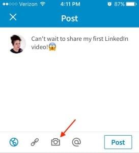 linkedin, video button
