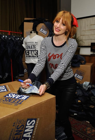 Actress Bella Thorne autographs a pair of jeans at the 6th Annual Teens for Jeans event.