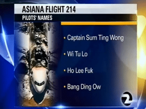 The fake, offensive names touted on the news report.