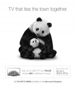 Telus connects its TV and Phones for Good program to specific community projects, such as Matthew's House. For every cable subscription that the company sells, it makes a $25 donation to a hyper-local charity.