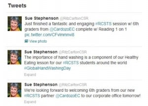 Some of the recent tweets promoting The Ritz-Carlton's various CSR efforts.