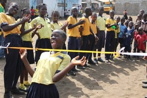 Children in Monrovia, Liberia participate in Right To Play activities.