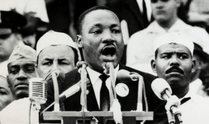 "Martin Luther King, Jr. delivers his famous ""I Have a Dream"" speech."