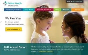Sutter Health 2012 Interactive Online Report is a finalist in the Annual Publication or Brochure category.