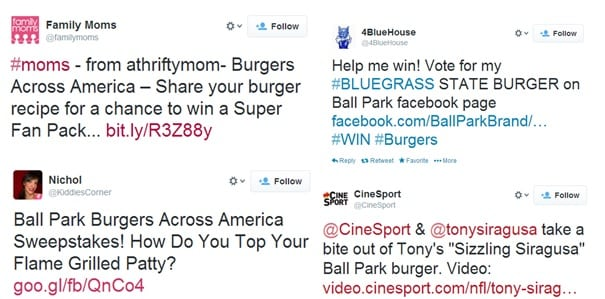 "We're talking burgers. An image of a Twitter conversation surrounding the Ball Park ""Burgers Across America"" campaign"