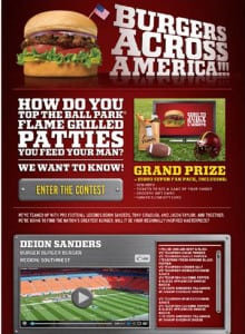 "Above is the ""Burgers Across America"" launch page posted on Facebook during a contest for the best regional burger recipes."