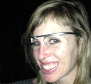 Sarah Slocum wearing Google Glass. (Sagesse Gwinn Graham / CBS)