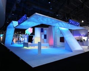 The Philips Lighting exhibit at LIGHTFAIR 2013. It was important that the exhibit focus on purpose marketing rather than on the products themselves.