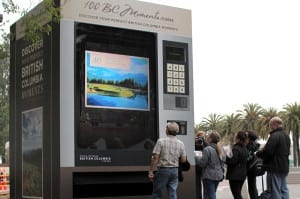 """The """"100 BC Moments Machine"""" arrives in San Francisco."""