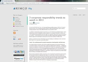 Blog_Kimco Realty Builds Industry Leadership in CSR through Corporate Blog
