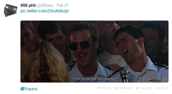 Shot Down: An image from the Twitter account, @555uhz, that was suspended after Paramount Pictures got wind of it.