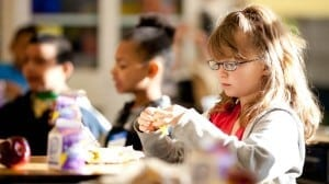 A student eats breakfast at a Colorado elementary school.
