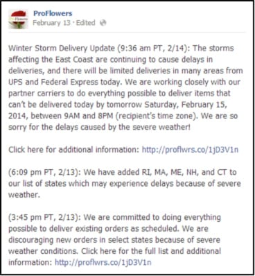 ProFlowers updates customers before Pax storm