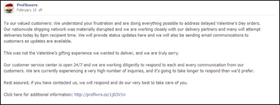 ProFlowers continues to update customers after Valentine's Day about how to get assistance on their outstanding orders.