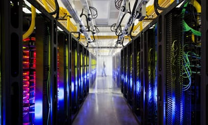 A Google network room at a data center in Council Bluffs (Associated Press)