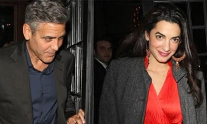 George Clooney and his fiancée, Amal Alamuddin (Image: thewrap.com)
