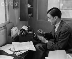 Ben Bradlee as a reporter, 1956.  Image: Washington Post