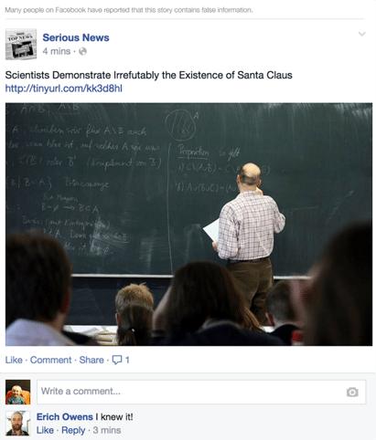Facebook Hoax example
