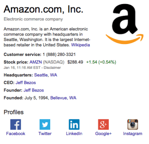 The Knowledge graph box now includes brands' social profile info.
