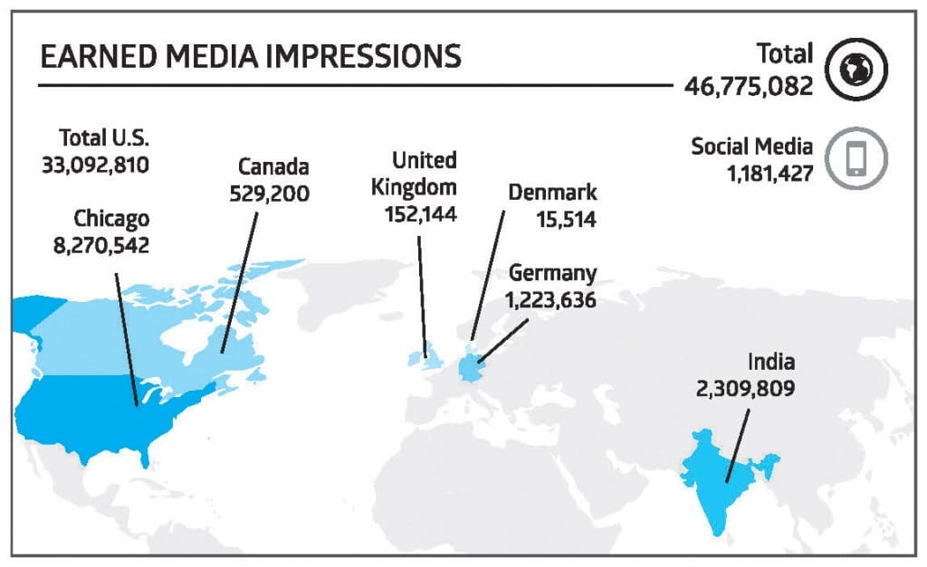 The media relations campaign about Shah's penthouse purchase earned media impressions throughout the world.