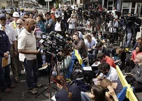 Michael Nutter speaks with reporters.  Image: AP