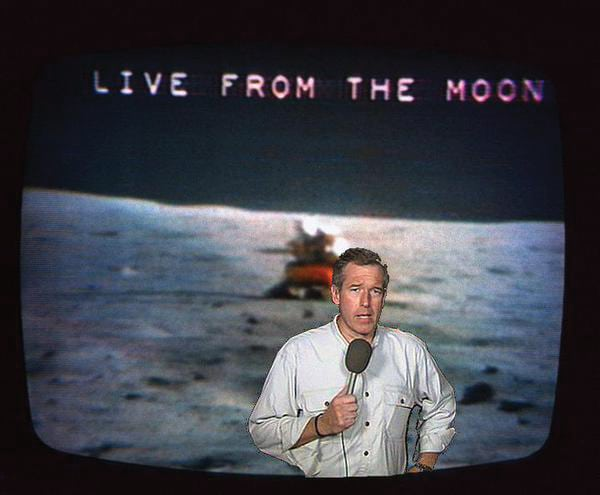 LIFE OF BRIAN: During a crisis, brands and celebrities will all-too-quickly find themselves the butt of the Internet's jokes.  Source: Twitter for Brian Williams Moon shot