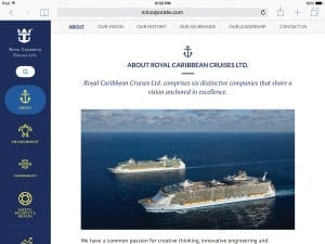 MOBILE WORTHY: Royal Caribbean Cruises' new site features a mobile-friendly design, sans a lot of navigation.