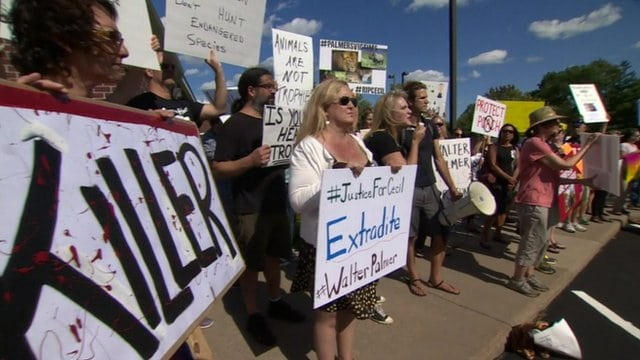 Protesters gather outside Walter Palmer's dental practice.