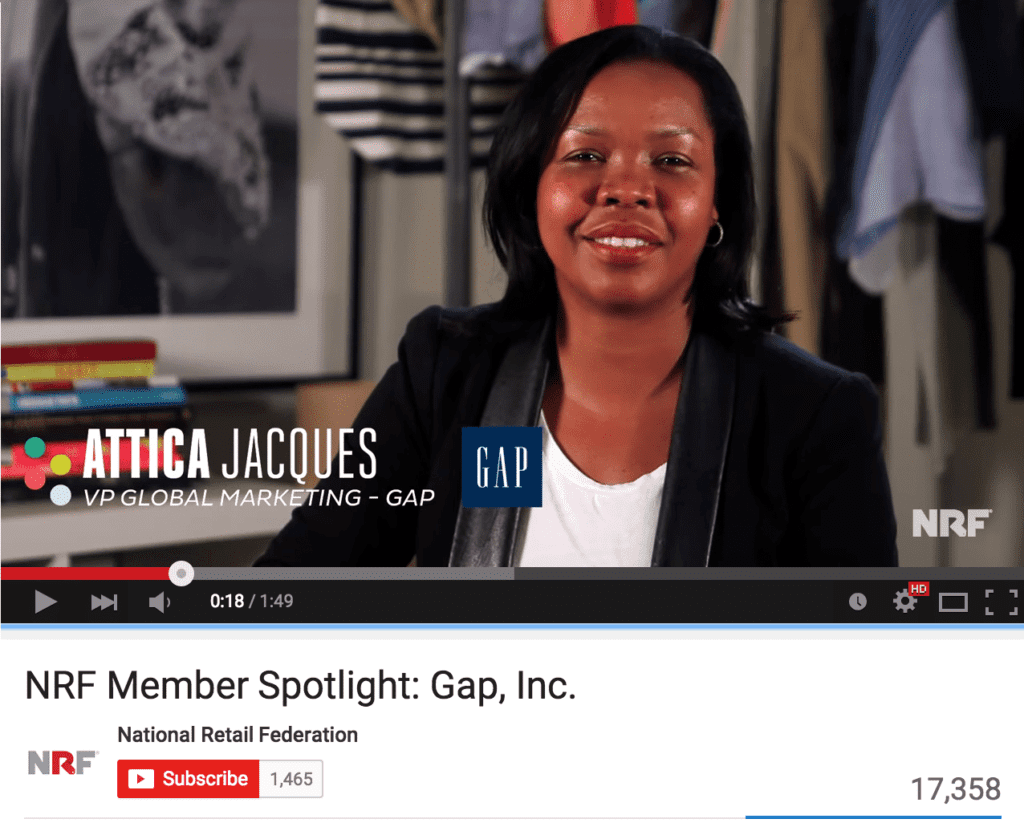 Gap VP of Global Marketing Attica Jacques tells her career story in the This is Retail: Gap Inc. video produced by the National Retail Federation.