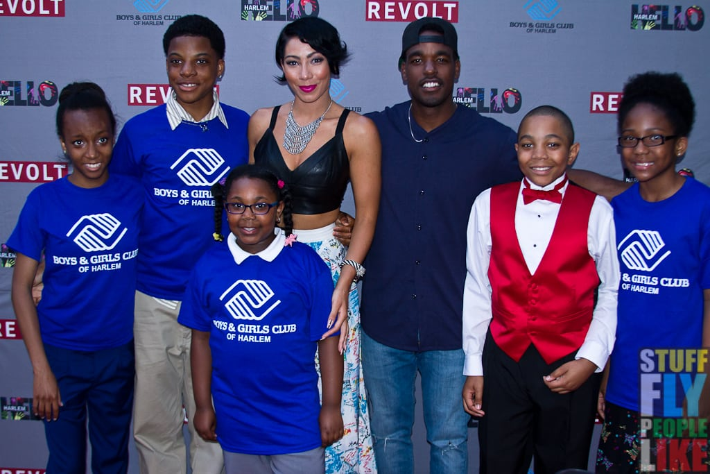 Bridget Kelly (center-left) and Luke James (center-right) at HELLO Harlem event.
