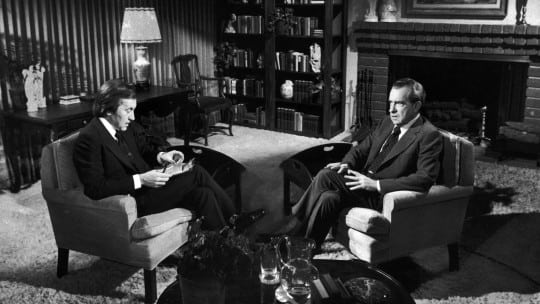 David Frost interviewing former Pres. Richard Nixon in rented house near Nixon's in San Clemente, CA.  (Photo by John Bryson//Time Life Pictures/Getty Images)