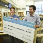 Matthew Post and John Caporaletti are announced as the winners of Discovery Education's TeenDrive365 Video Challenge, sponsored by Toyota, at Sherwood High School on Friday, April 29, 2016 in Sandy Spring, Md.  (Kevin Wolf/AP Images for Discovery Communications)