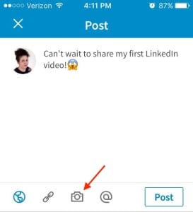 linkedin, video button