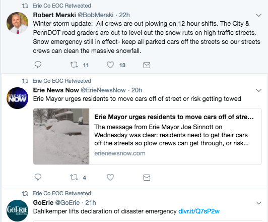 erie emergency twitter retweets