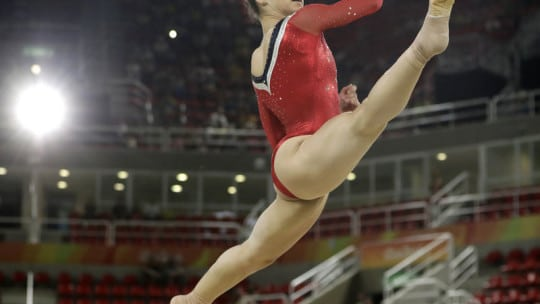 United States' Aly Raisman performs on the floor during the gymnastics exhibition gala at the 2016 Summer Olympics in Rio de Janeiro, Brazil, Wednesday, Aug. 17, 2016. (AP Photo/Dmitri Lovetsky)