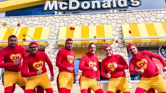 Emotional 6 Pack: The scene outside a Houston McDonald's last month during a takeover by Hispanic TV character El Chapulin Colorado. McDonald's hopes its campaign will forge a personal and emotional tie with Hispanics of all ages. Source: McDonald's/Boden