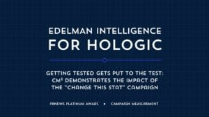 "Edelman Intelligence for Hologic CM3 Demonstrates the Impact of the ""Change This Stat"" Campaign"