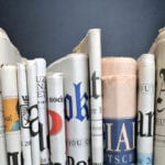 newspapers lined up