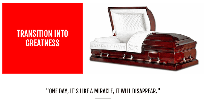 transition into greatness website casket