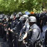 police in riot gear at BLM protest