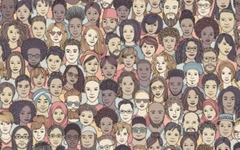 drawing of diverse online audience