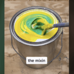 Tonesterpaints making lime green paint on Tik Tok