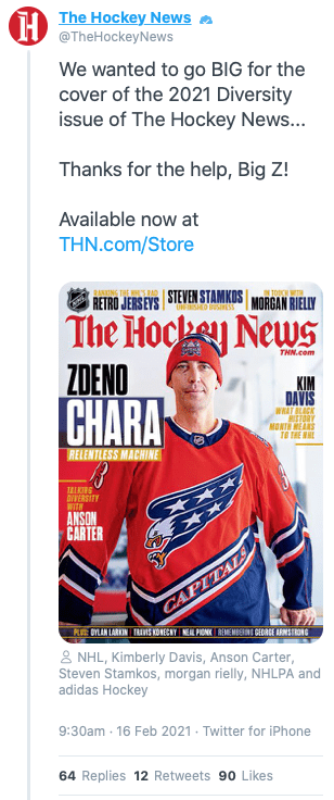 The Hockey News Deleted Diversity Tweet