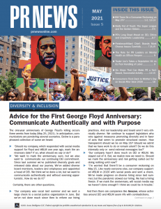 PRNEWS May 2021 Cover featuring an image from George Floyd protests