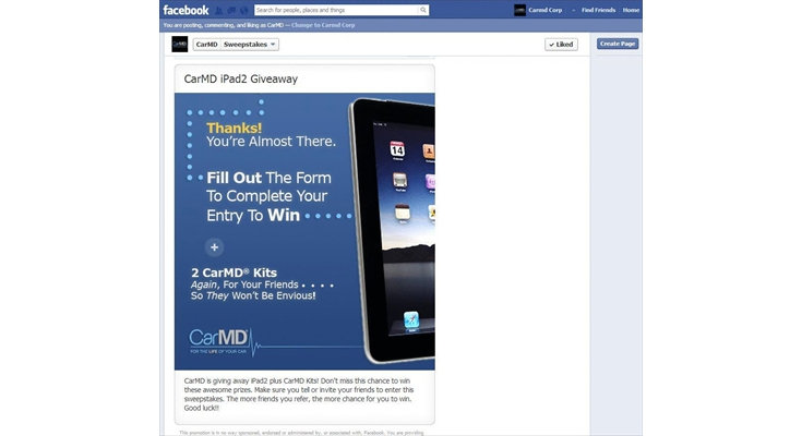 Facebook: Marketing Campaign (Budget Under $10K): CarMD.com Corp. - CarlMD Facebook Fans & Friends Contest